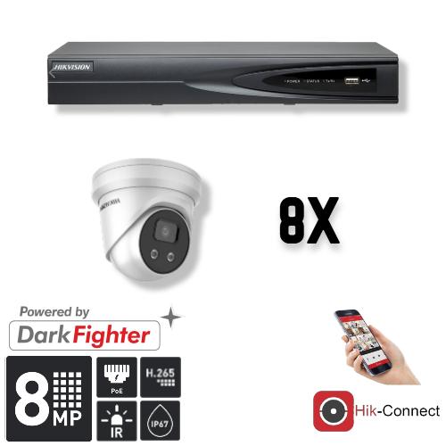 Deze kit bestaat uit:<br /> 1 x 8 Kanaals 4K recorder <br /> 8 x 8 Megapixel slimme Hikvision camera<br /> 1 x Hik-Connect app<br /> 1 x Gratis PC / MAC software<br /> 8 x 20 meter CAT5 kabel<br /> 1 x USB muis <br /> 1 x 1 meter HDMI kabel