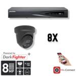 Hikvision Cameraset | 8x Eyeball | 4K | Acusense | NVR | Incl. Bekabeling | POE | APP |