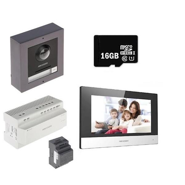 1x DS-KH6320-WTE2 <br /> 1x DS-KAD704 <br /> 1x DS-KD8003-IME2 <br /> 1x DS-KD-ACW1 <br /> 1x DS-KAW30-2N <br /> 1x 16GB SD-kaart