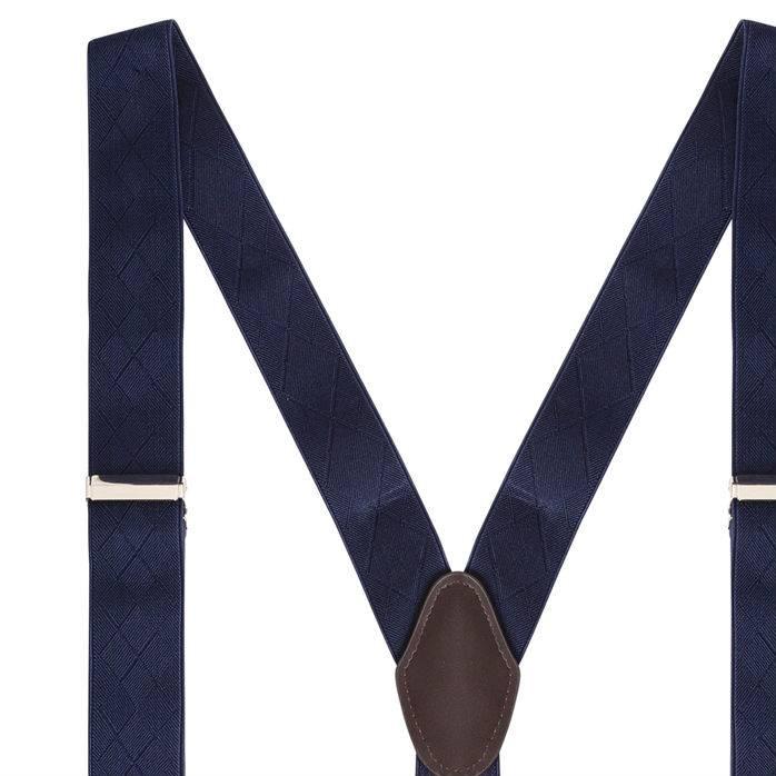 English Fashion Bretels Blauw met Leer 6-clips