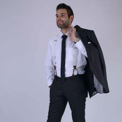 English Fashion Witte Bretels met leer