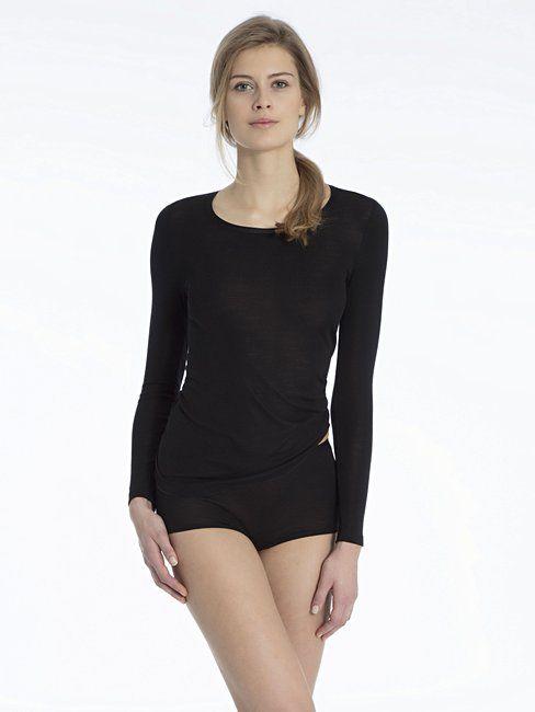 Calida Zwart hemd wol/zijde