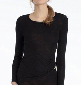 Calida Zwart hemd wol/zijde lange mouw