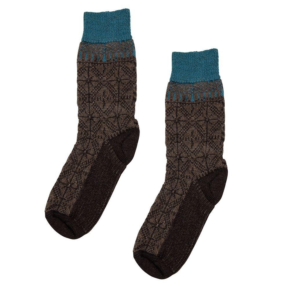 Hirsch Natur Wollen sokken met  ijskristallen bruin
