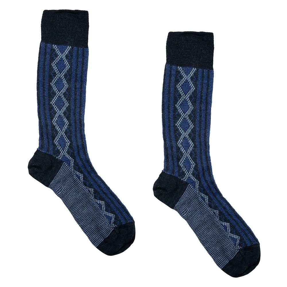 Hirsch Natur Folklore sokken wol blauw