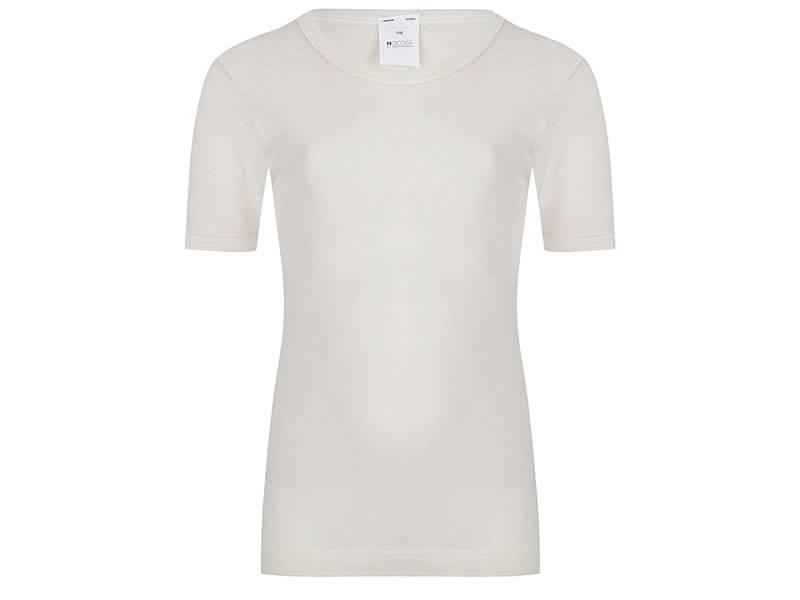 Wol/zijden kinderhemd korte mouw