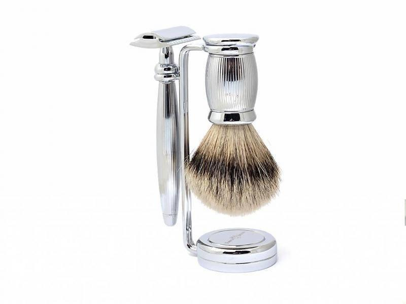 Edwin Jagger Bulbous Silver Tip 3-delige safety razor set