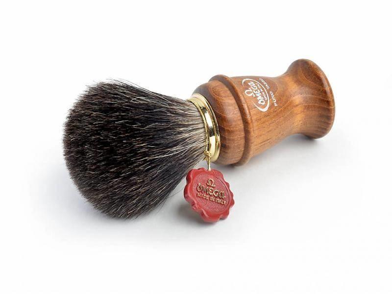Omega all badger scheerkwast - houten heft - L- met houder