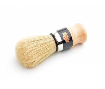 Omega varkensharen scheerkwast - houten heft - met houder