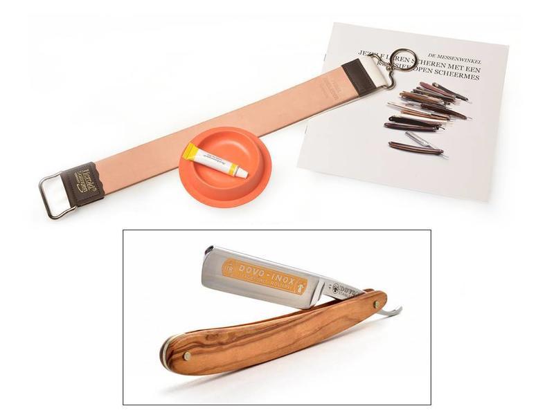 Beginnerspakket open scheermes - olijfhout - roestvrij staal