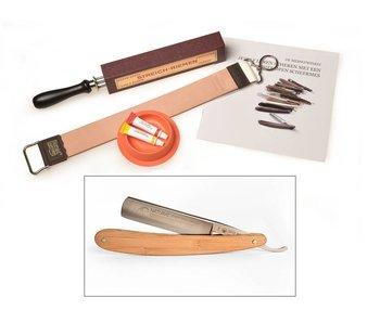 Compleet beginnerspakket open scheermes - bamboe 5/8