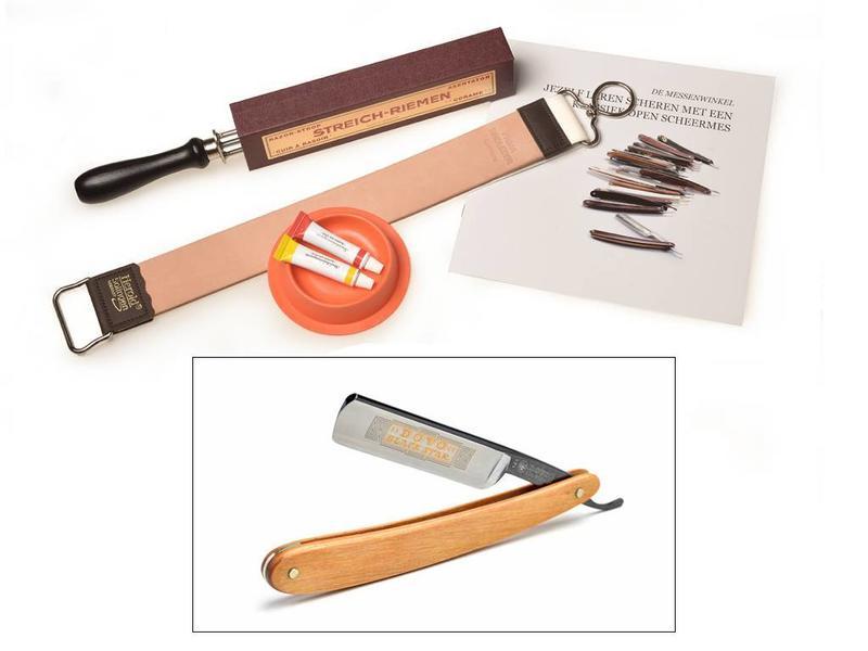 Compleet beginnerspakket open scheermes - pakkawood brown 5/8