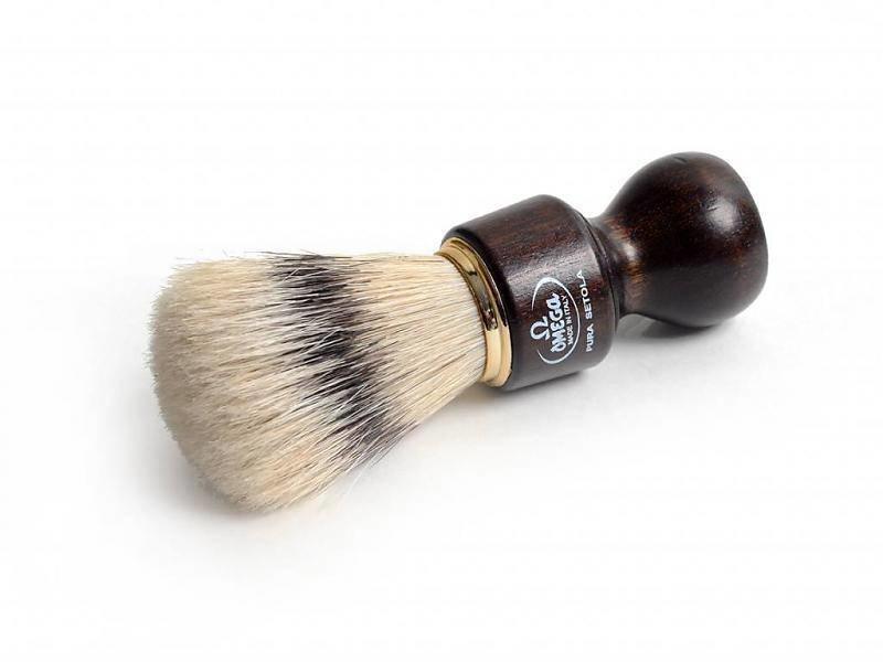 Omega varkensharen scheerkwast - donker hout - met houder