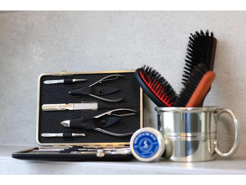 Dovo 11-delig manicure/pedicure etui / zwart elk leder