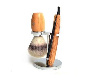 Scheerset met shavette - olijfhout