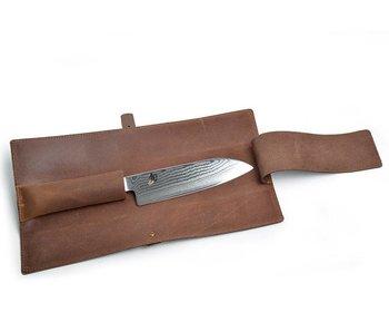 Crafted lederen messenhoes voor 1 mes van 18cm