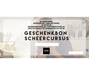 De Messenwinkel Geschenkbon 'scheercursus met ontleend materiaal'