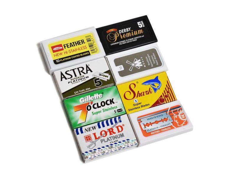 Set van 8 merken safety razor mesjes