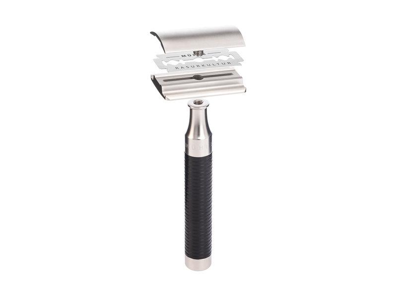 Muhle Rocca set safety razor RVS zwart Silvertip Fibre