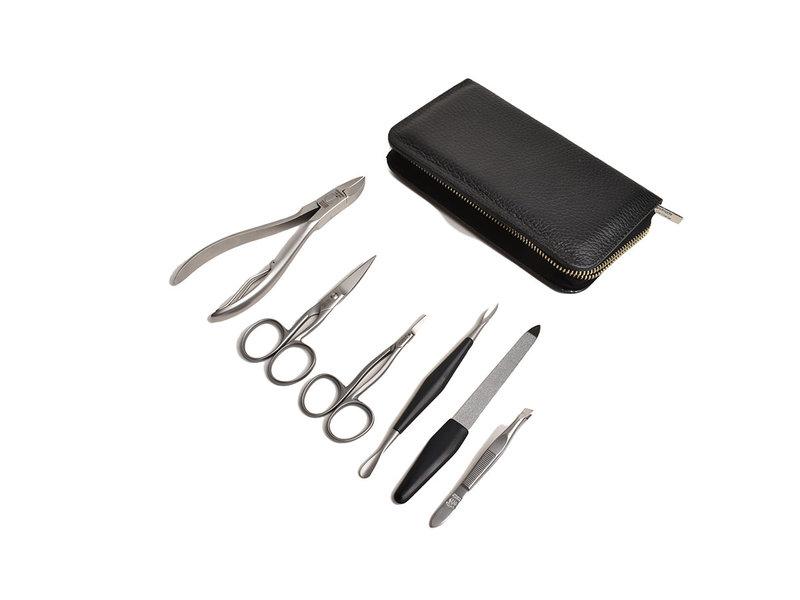 Dovo 6-delig manicure/pedicure etui / zwart Nappaleder