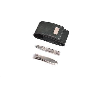 Erbe 2-delig zwart etui met clipette en nagelknipper