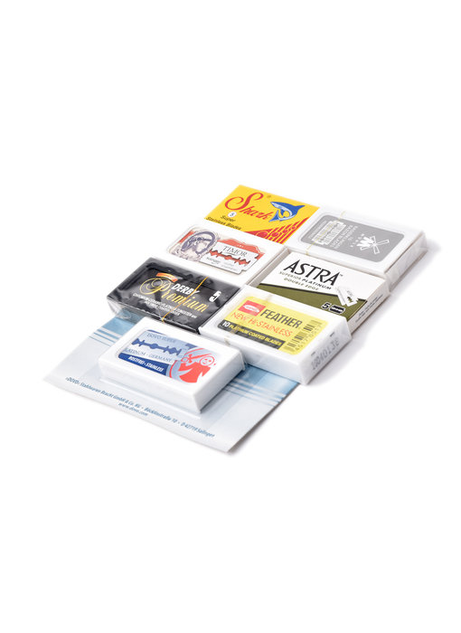Set van 7 merken safety razor mesjes