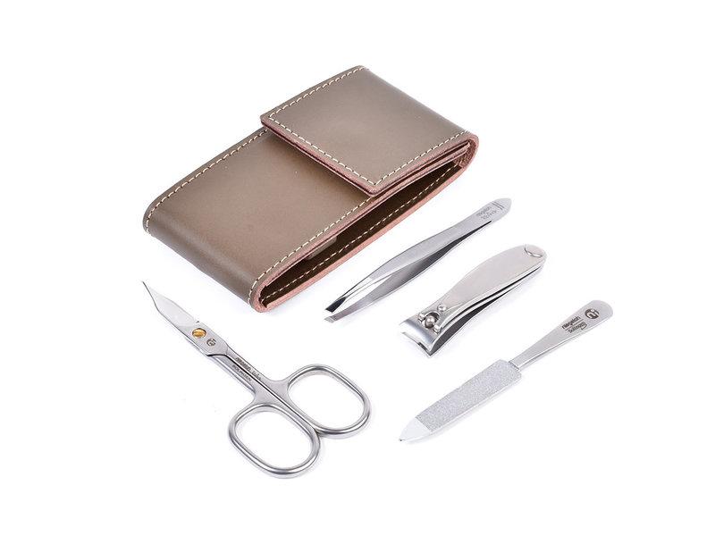 Niegeloh 4-delig etui met schaar en nagelknipper - bruin