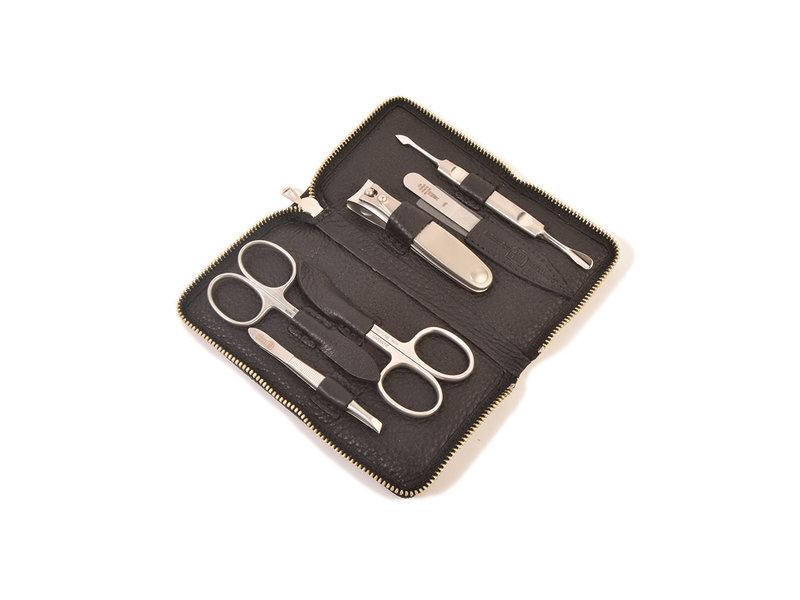 Dreiturm 6-delig nageletui met nagelknipper en 2 scharen - zwart