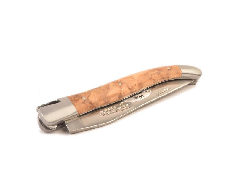Laguiole en Aubrac 12 cm Olivier - platines guillochées - mat