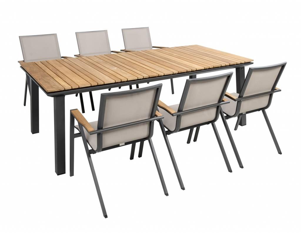 Soho 7-delige tuinset aluminium-textileen-teak