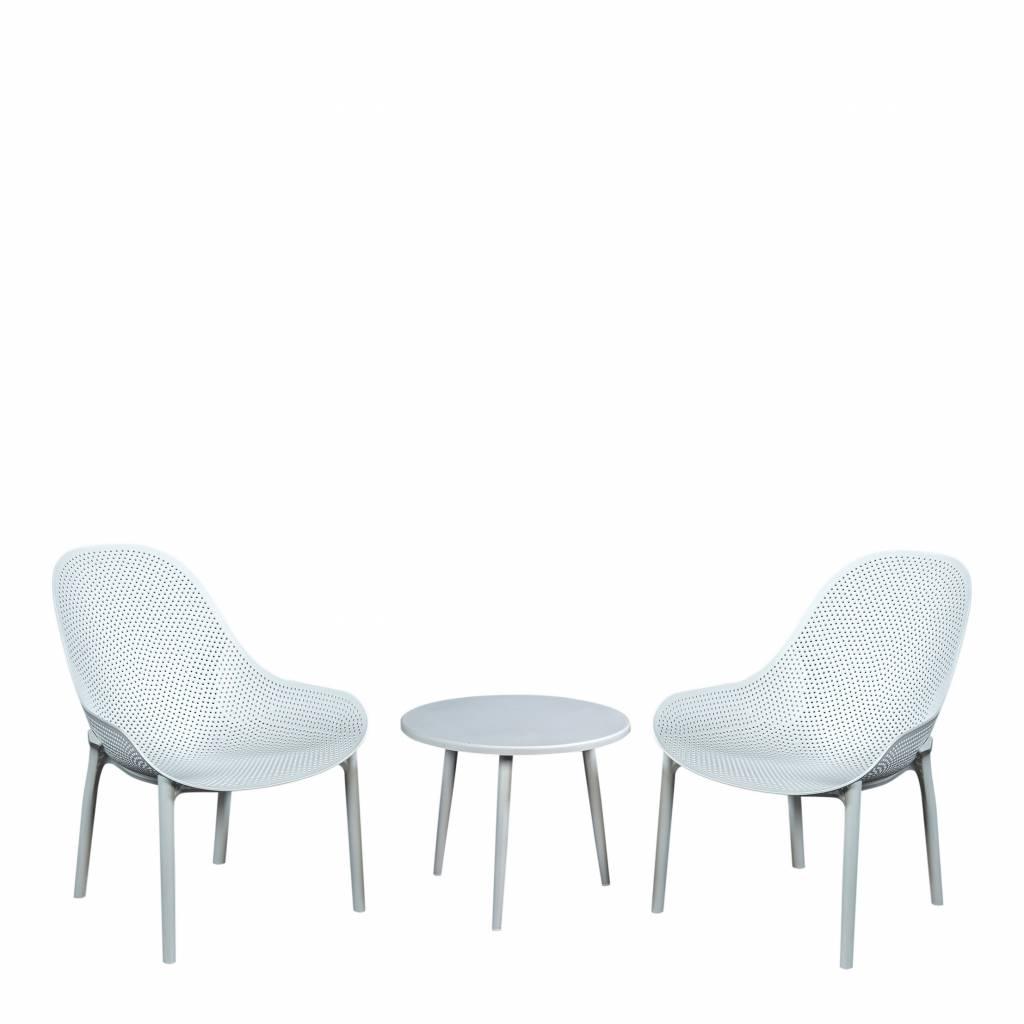 Sky 3-delige loungeset, resin -aluminium