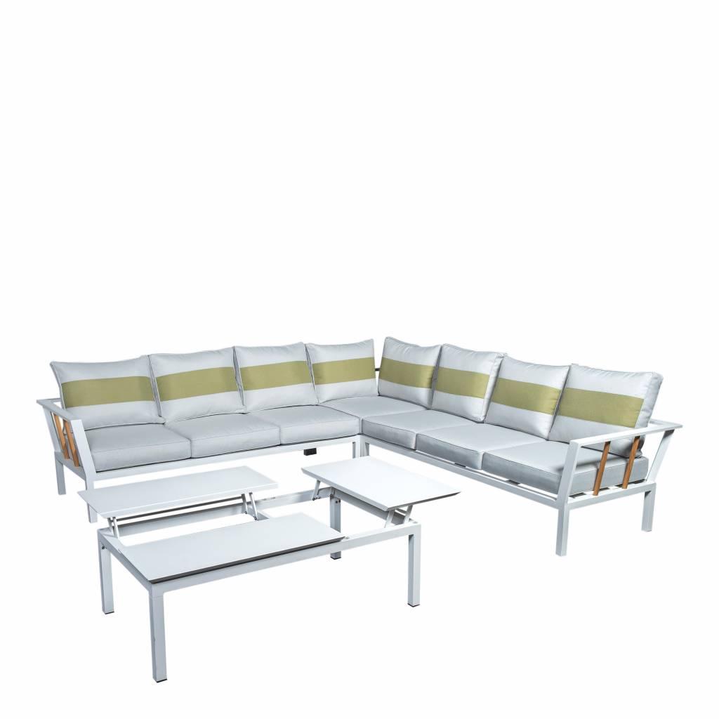 Central 4-delige loungeset-tafel 120x72cm, aluminium/teak