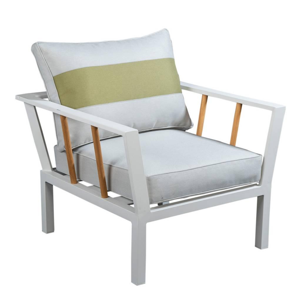 Central loungestoel, aluminium/teak