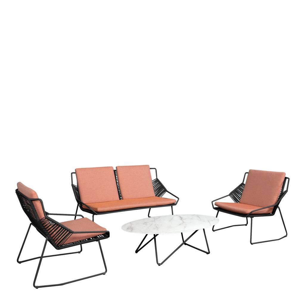 Papillon 4-delige loungeset, aluminium-rope