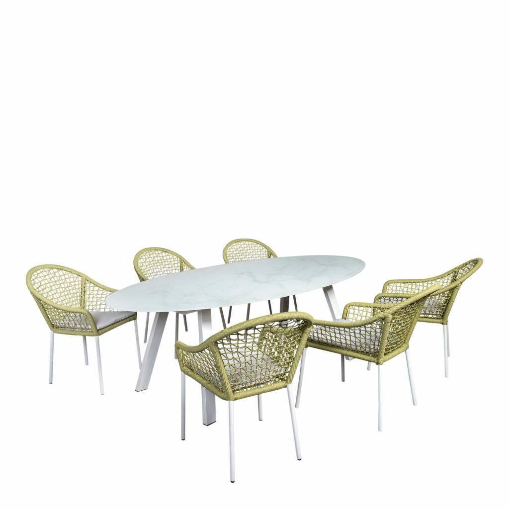 Queens-Corona ovaal 7-delige tuinset,  aluminium/rope /glas