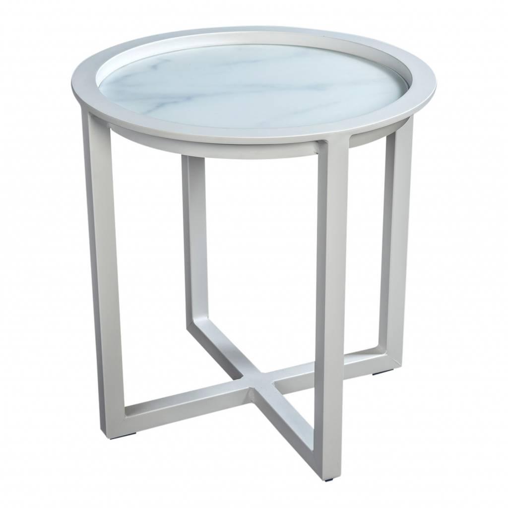 Queens loungetafel 50cm,  aluminium -glas