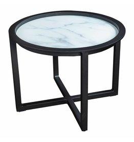 Queens loungetafel  60cm aluminium -glas