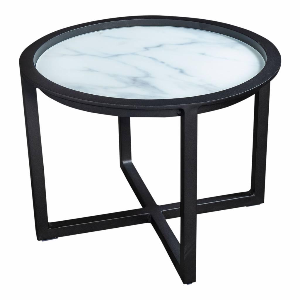 Queens loungetafel 60cm,  aluminium -glas