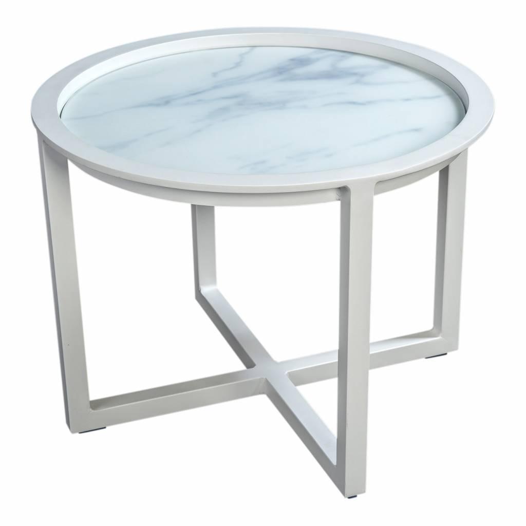 Queens loungetafel 75cm,  aluminium -glas