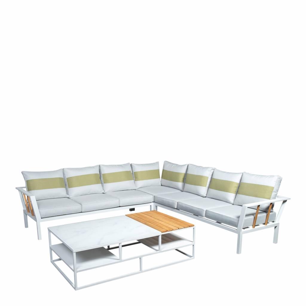 Central 4-delige loungeset-tafel 140x80cm, aluminium/teak /glass
