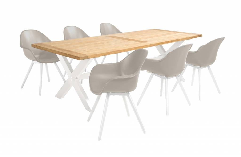 Geneva - Moonlight 7-delige diningset  resin - alu/ teak- alu