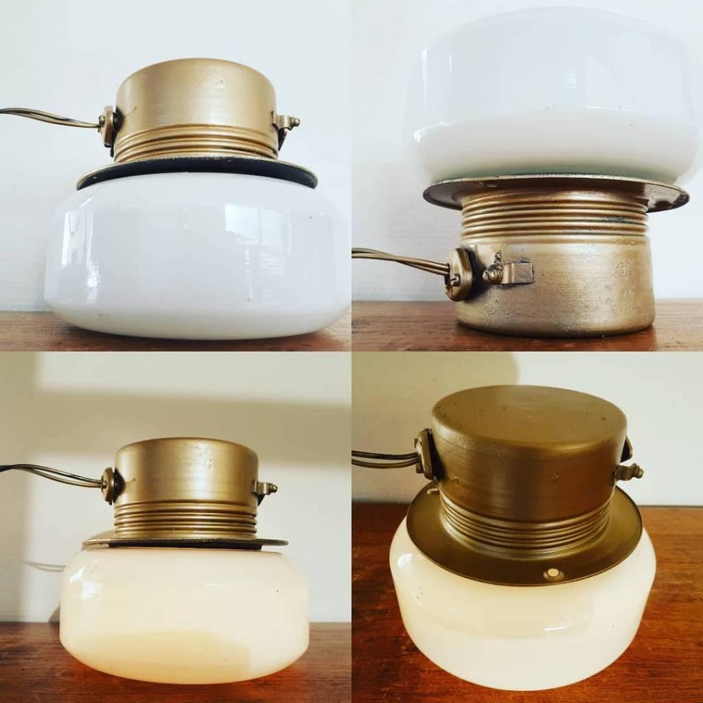 Opaline gouden scheepslampen wandlamp plafondlamp