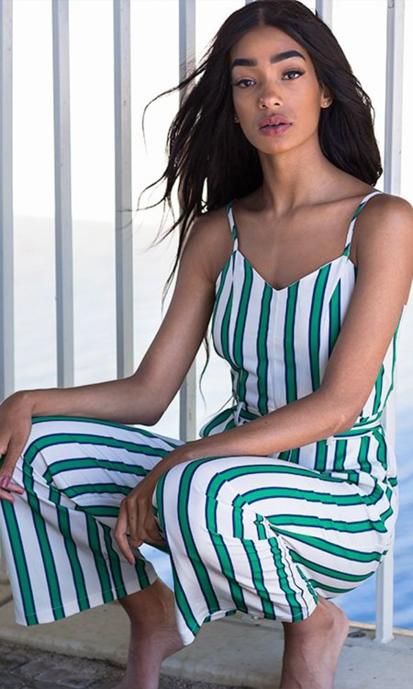 Green Striped Jumpsuit