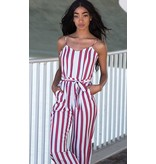 RED STRIPED JUMPSUIT