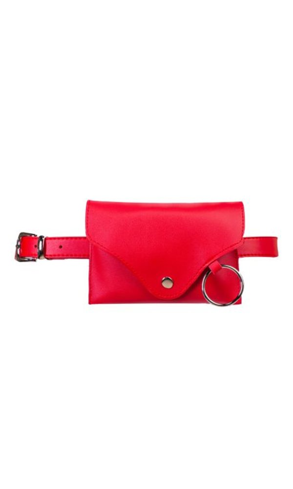 Plain belt bag red