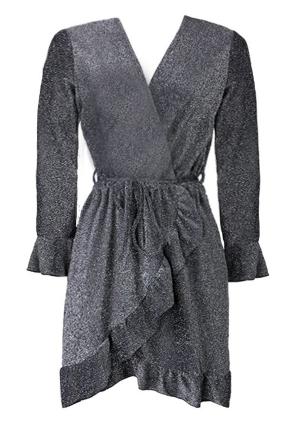 KATIE GLITTER WRAP DRESS