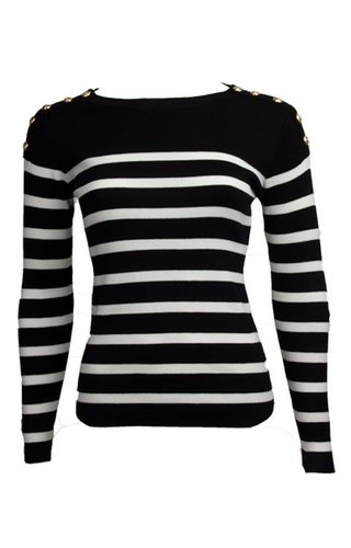 STRIPED CARO SWEATER
