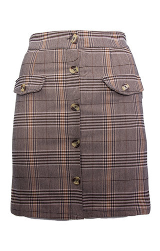 LEYLA CHECKERED BUTTON SKIRT