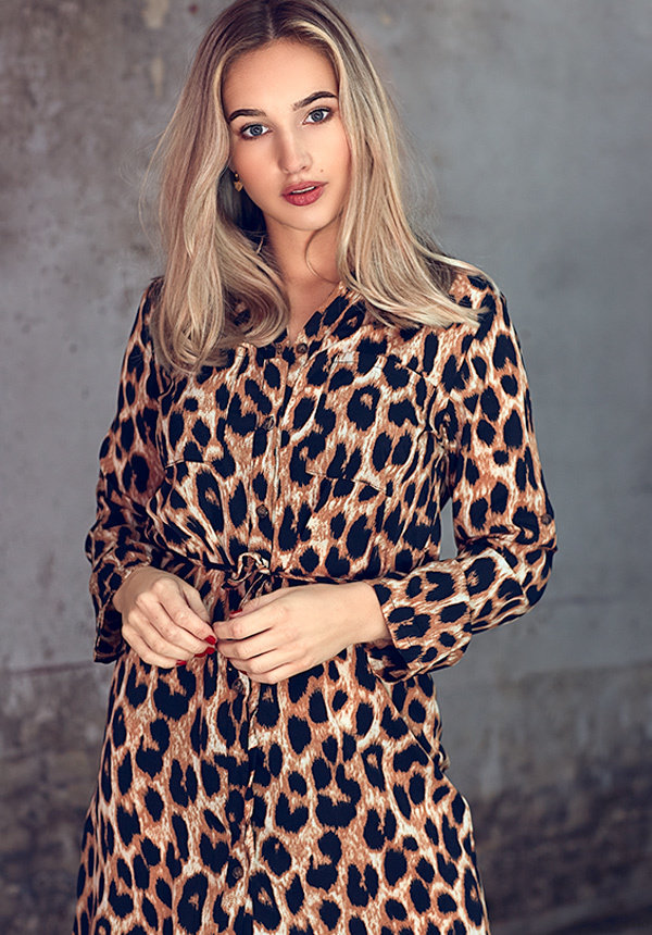 CATHY LEOPARD BLOUSE DRESS