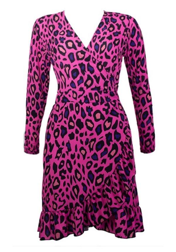 SERA LEOPARD WRAP DRESS